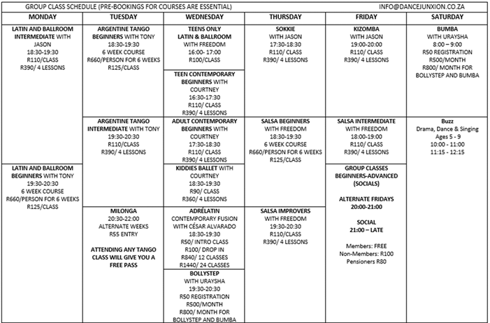 calendar group class schedule 2018